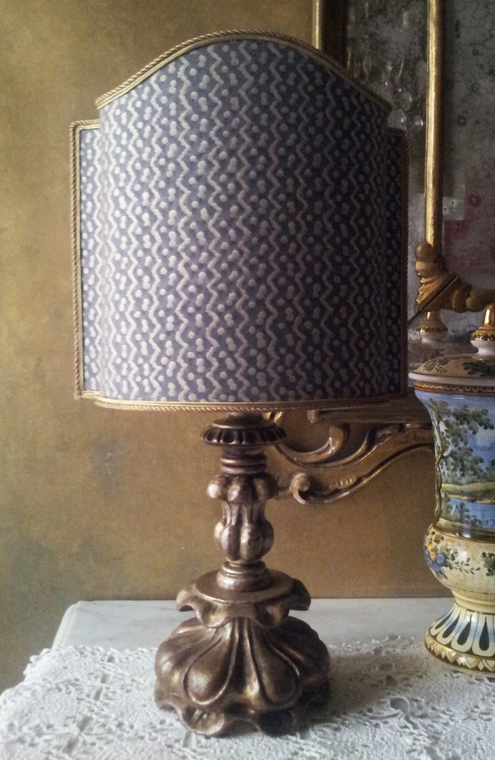 Antique italian silvered carved wood table lamp with fortuny antique italian silvered carved wood table lamp with fortuny fabric lamp shade made in italy geotapseo Images