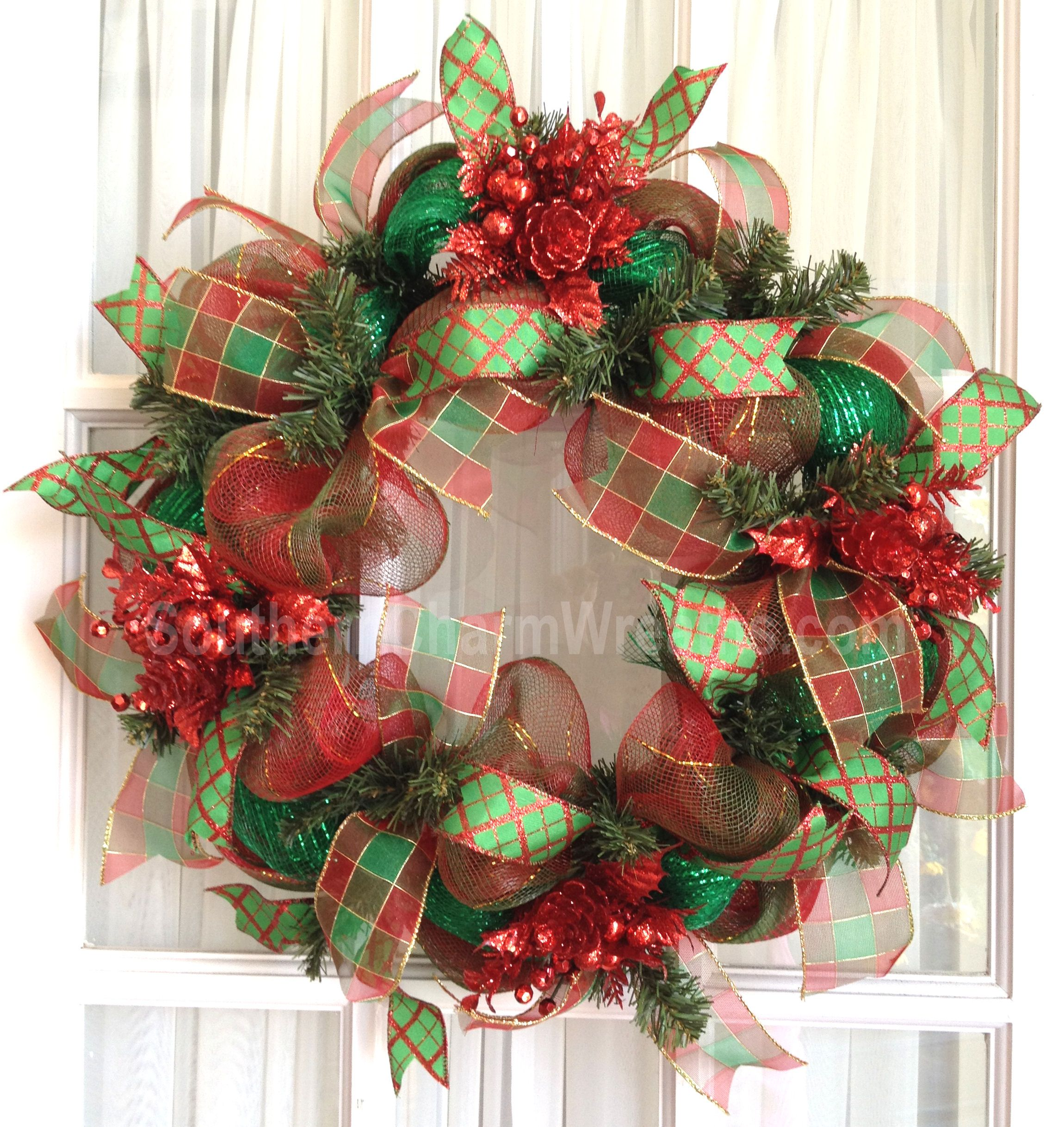 Deco Mesh Christmas Wreath Slim To Fit Between Screen Door