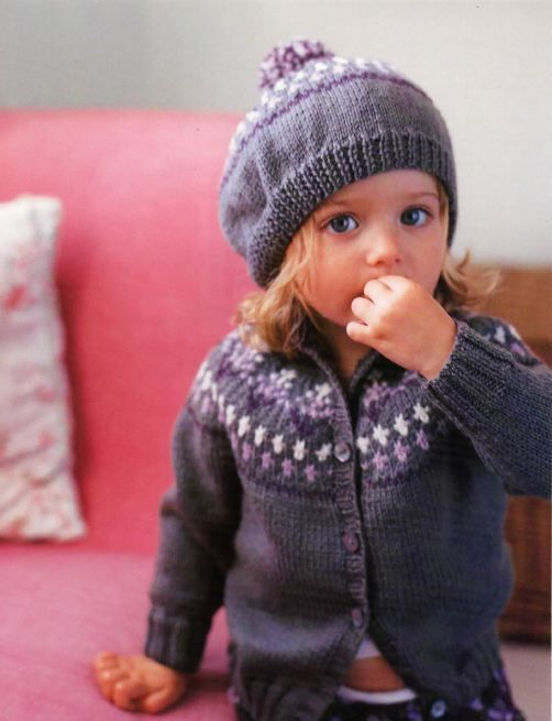 Knitted Beret Pattern Toddler : Knitting Pattern for Babies/Childs Fair Isle Cardigan and Beret for Girls