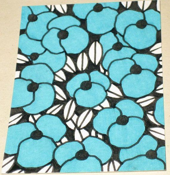 Dessin original ACEO noir et blanc et bleu Flower Design
