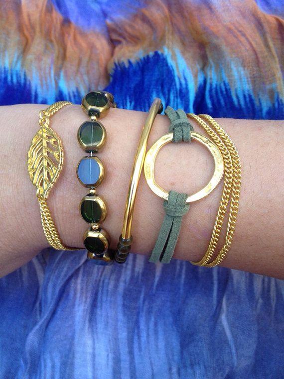 5Layer Olive Green Bracelet by littleksshoppe on Etsy