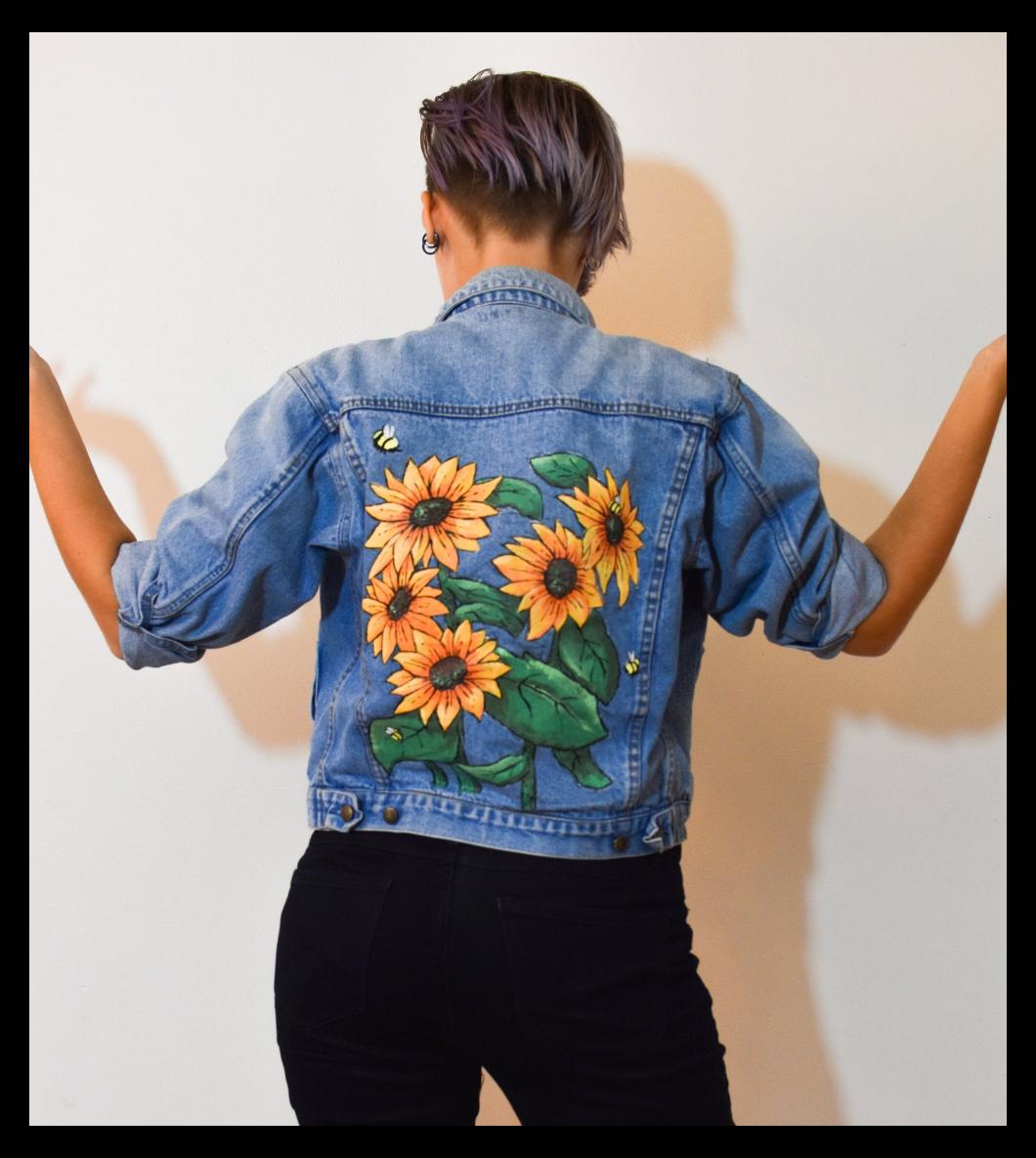 Jean Jacket Handpainted Floral Jacket Art Sunflowers Jacket Sunflower Jean Jacket Sunflowers Art Painted Jacket Hand Painted Jacket