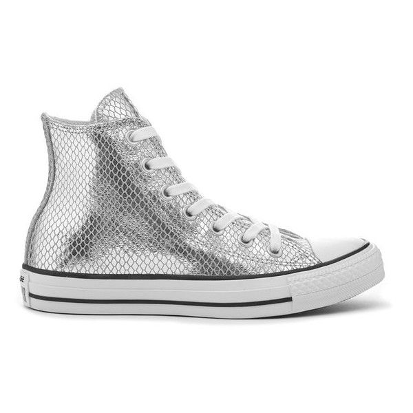 Shoes Outlet - Converse Chuck Taylor All Star Hi Silver Womens Trainers
