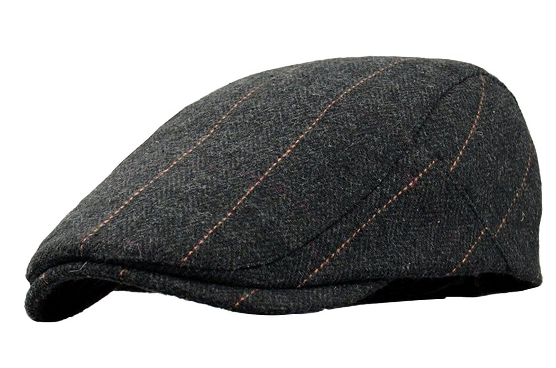 Men s Classic Wool Cabbie Driving duckbill Hat IVY Flat Cap newsboy Hat -  Black - CT18035D9W8 - Hats   Caps 17e48fa00a4
