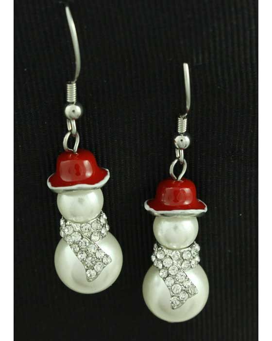 Pearl And Crystal Snowman Earring Xe106 Pearls Beaded Angels