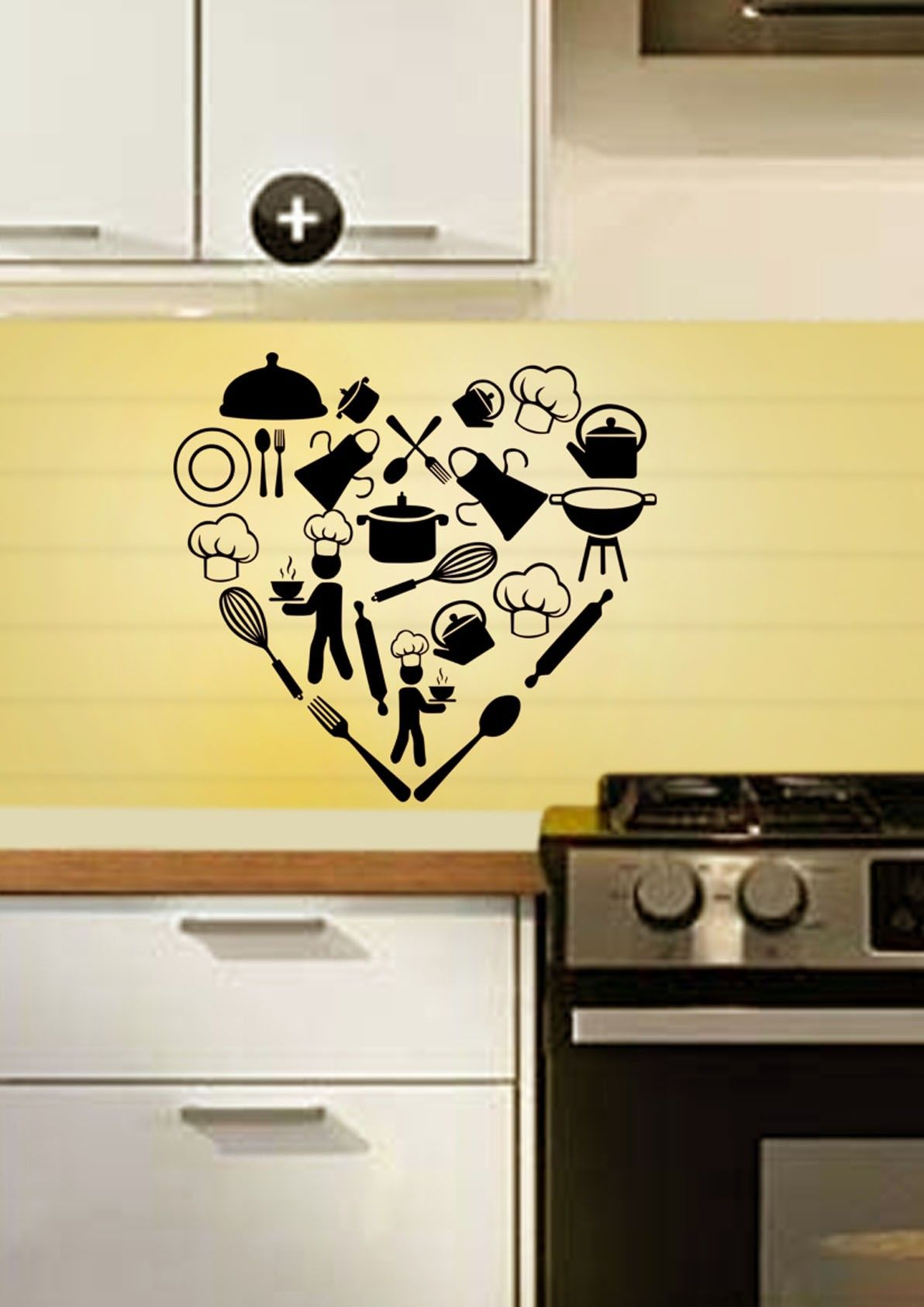 Home / Kitchenware Heart Kitchen Wall Decal | Festival Wall Stickers ...