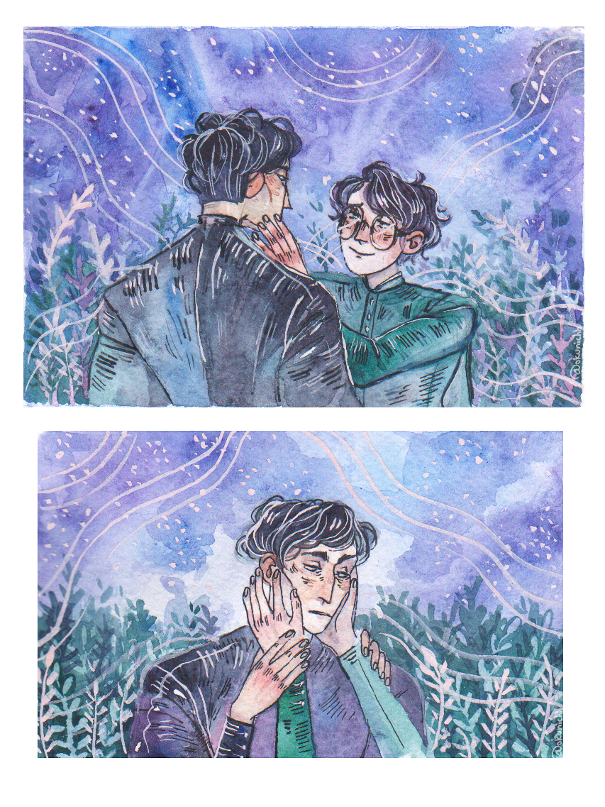 Tomarry Harrytom Harry Potter X Tom Riddle Tom Riddle Voldemort Watercolor Watercolour Illustration Fanfic Illustration My Art O Harry Potter Anime Anime Art