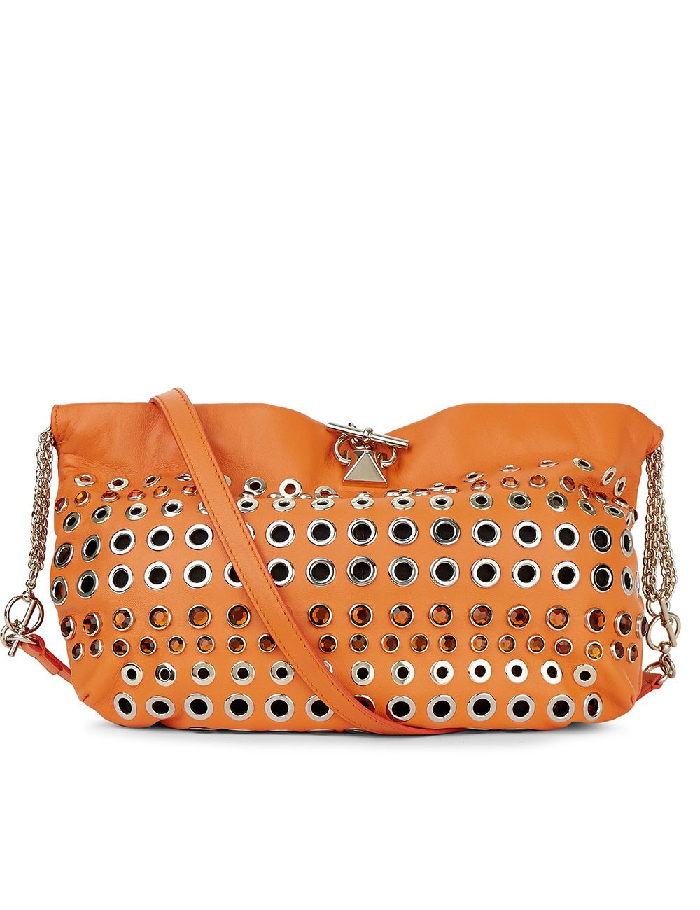 SONIA RYKIEL Orange Leather Crystal Eyelet Bag. #soniarykiel #bags #stone #lining #shoulder bags #crystal #suede #hand bags #