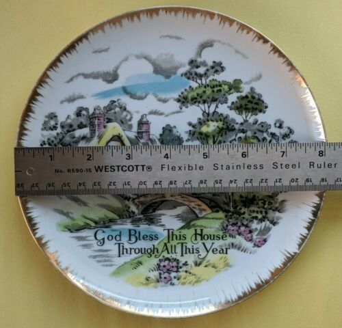 Details About Porcelain Giftcraft Fine China Plate God Bless This House Through All This Year In 2020 China Plates Fine China Porcelain