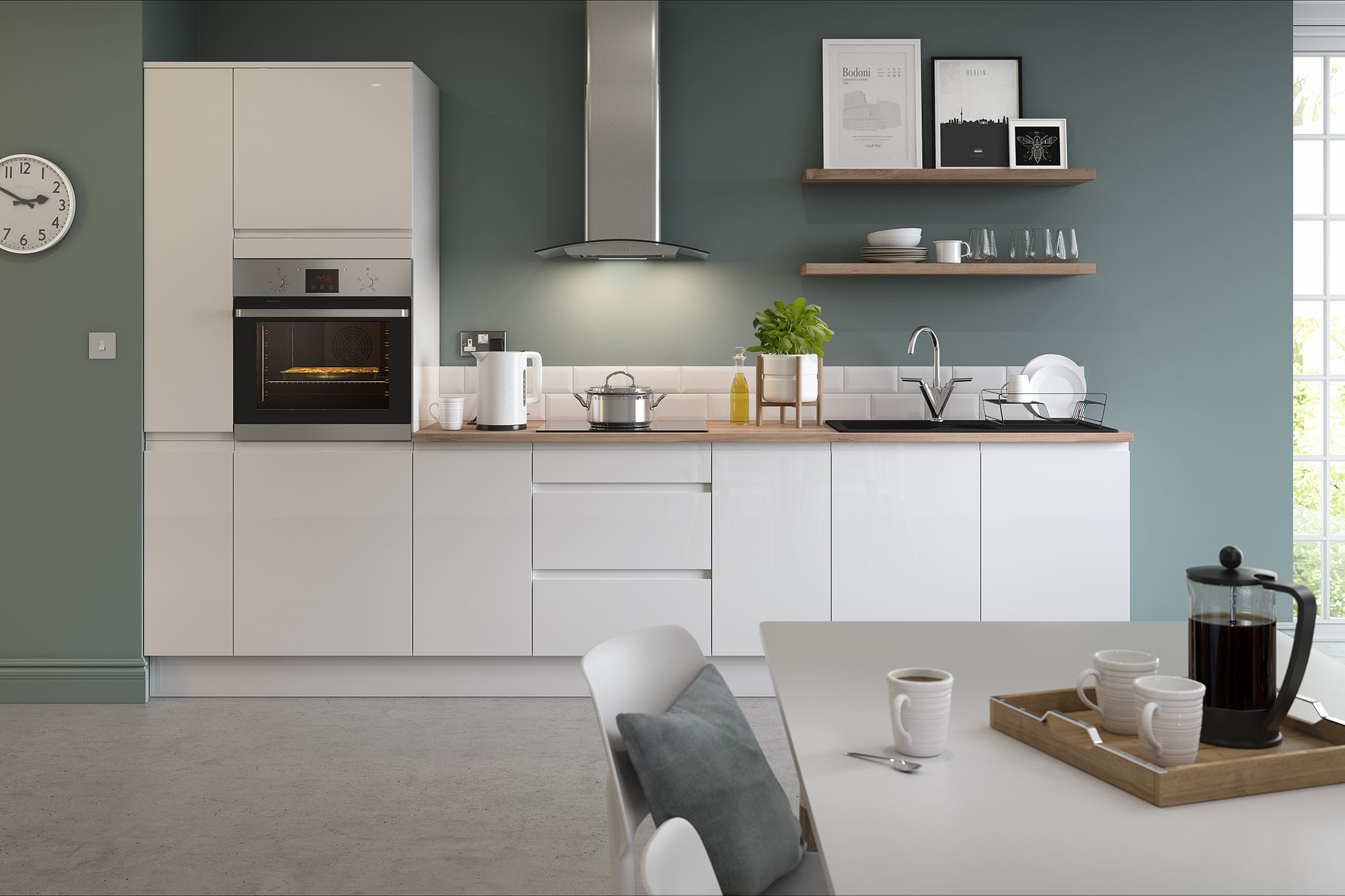 Cottage style kitchens with lacquer fronts radiate a natural