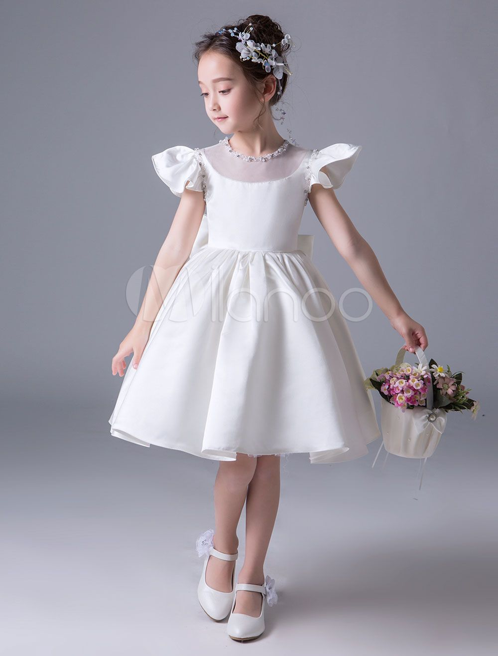 099a7f4d9 Flower Girl Dresses Satin Short Sleeve Bow Ivory Princess Dress Knee Length  Kids Party Dresses
