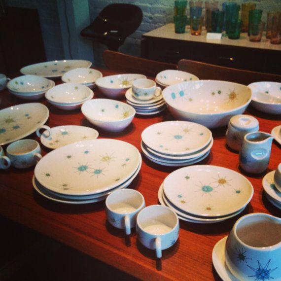 Mid century Franciscan Starburst dinnerware set by Midcenturyville $1150.00 & Mid century Franciscan Starburst dinnerware set--RESERVED for John ...