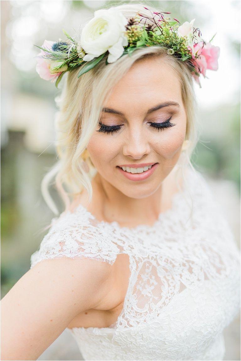 Bridal Hair Makeup Wedding Flower Crown Pink Ideas