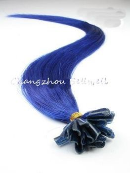 "Frete grátis Loop Micro Anel Extensões de cabelo humano Cor Azul Azul N 0,5 g / S 100S/pack 10Packs 20 ""1000S Remy"