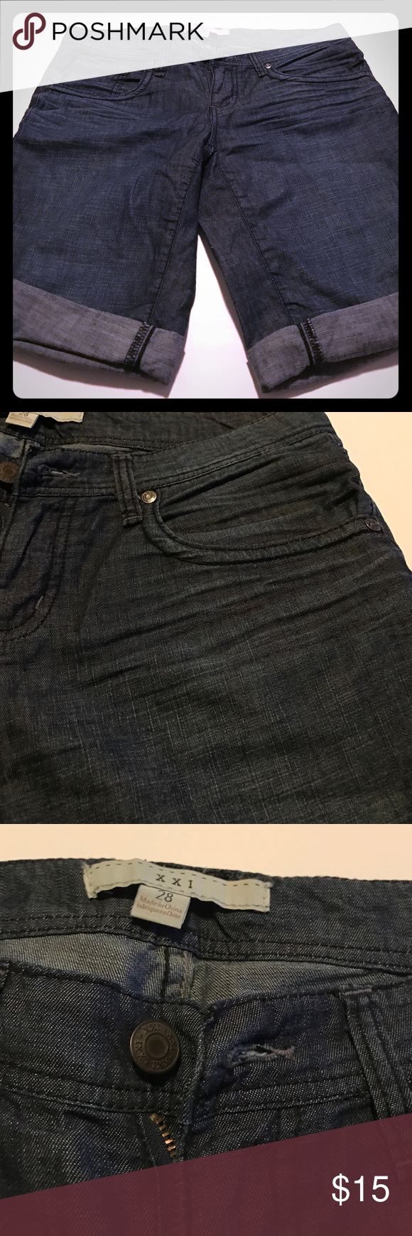 SALE!🎃 like new, Forever 21 bermudas 28 These are like new Forever 21 Bermuda shorts. Size 28. They have a distressed wrinkled look towards the top which is pictured. Waist measures 32 inches. Inseam is 10 inches. Dark denim. Forever 21 Shorts Bermudas