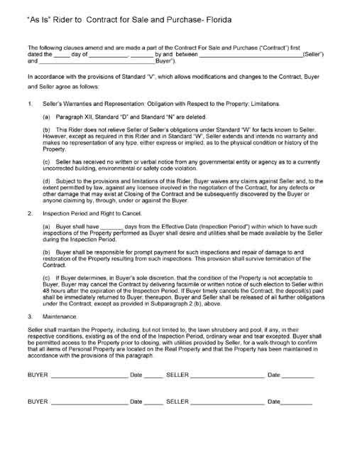 As Is Rider To Contract For Sale Property Form Free Printable