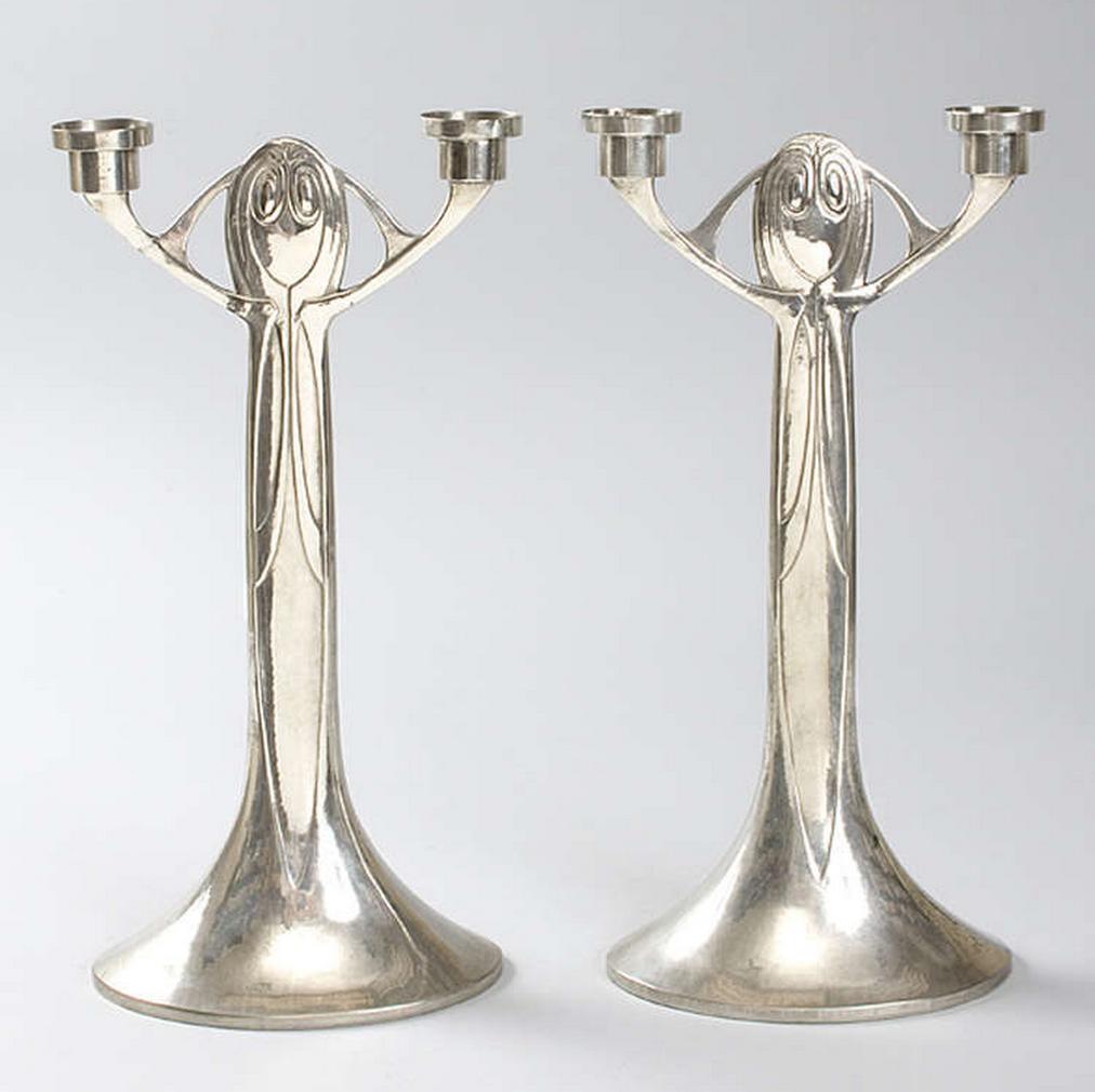 Joseph Maria Olbrich Art Nouveau Candlesticks Jugendstil Design Jugendstil Kunstgewerbe