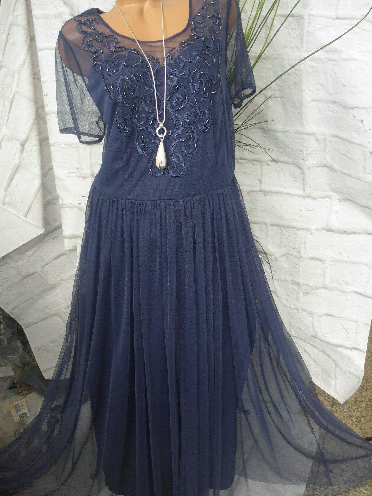 Sheego Eventkleid Abendkleid Kleid Maxi Gr. 19 bis 19 Blau mit