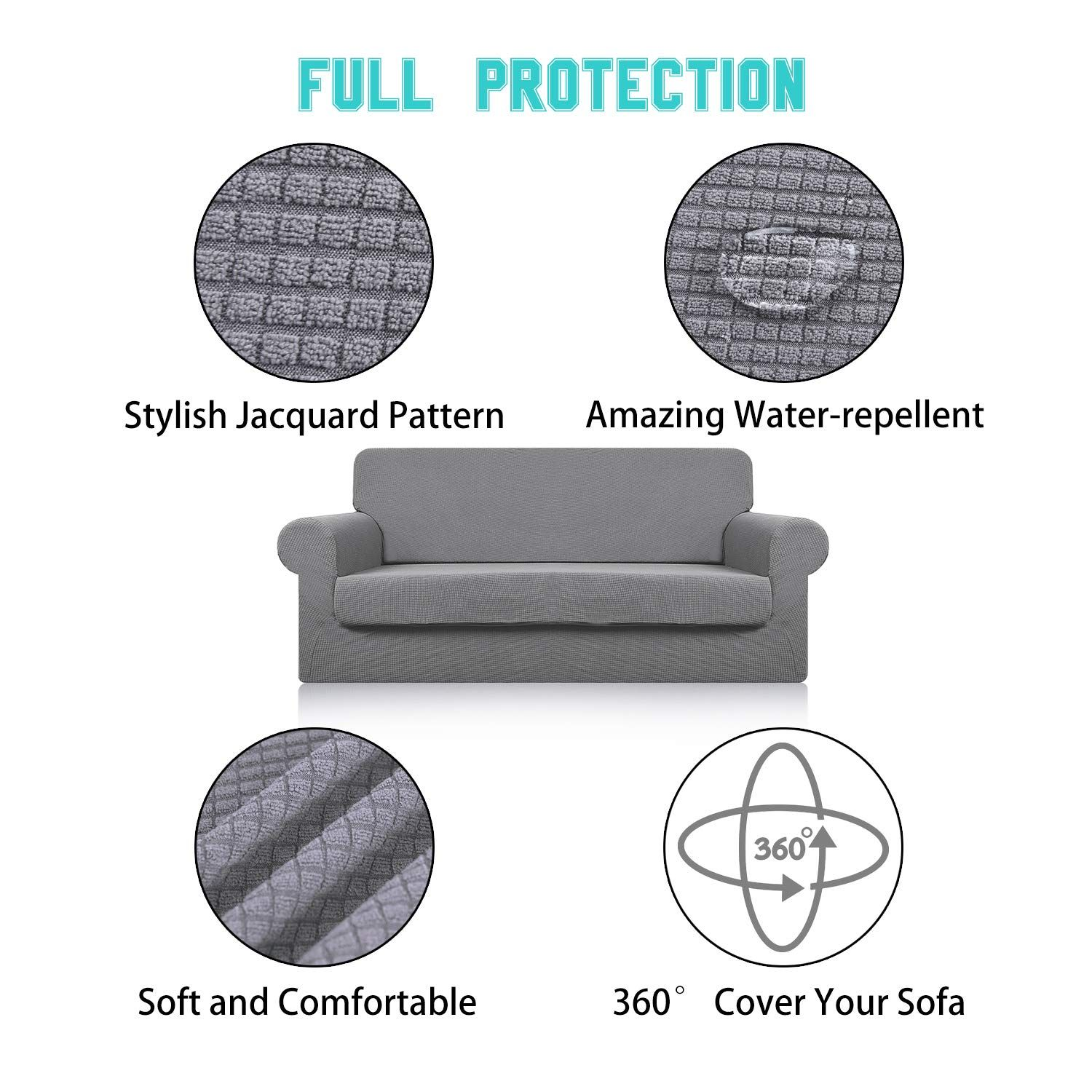 Sofa Cover With Separate Seat Cushion Cover2 Pieces Set Water Repellentknitted Jacquardhigh Stretch Living Slip Covers Couch Sofa Covers Couches Living Room
