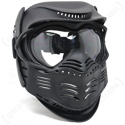 Black Paintball Mask Airsoft Full Face Protection With Goggles Tactical Gear Goggles Masks Paintballing Paintball Mask Airsoft Helmet Airsoft