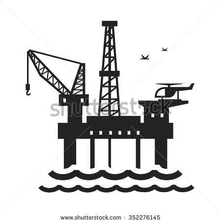 Vector Black Oil Platform On White Background Oil Platform Petroleum Engineering Concept Design
