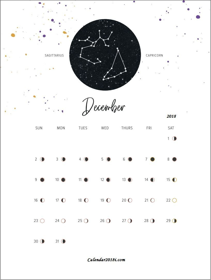 December 2018 Calendar With Moon Phases Moon Phase Calendar
