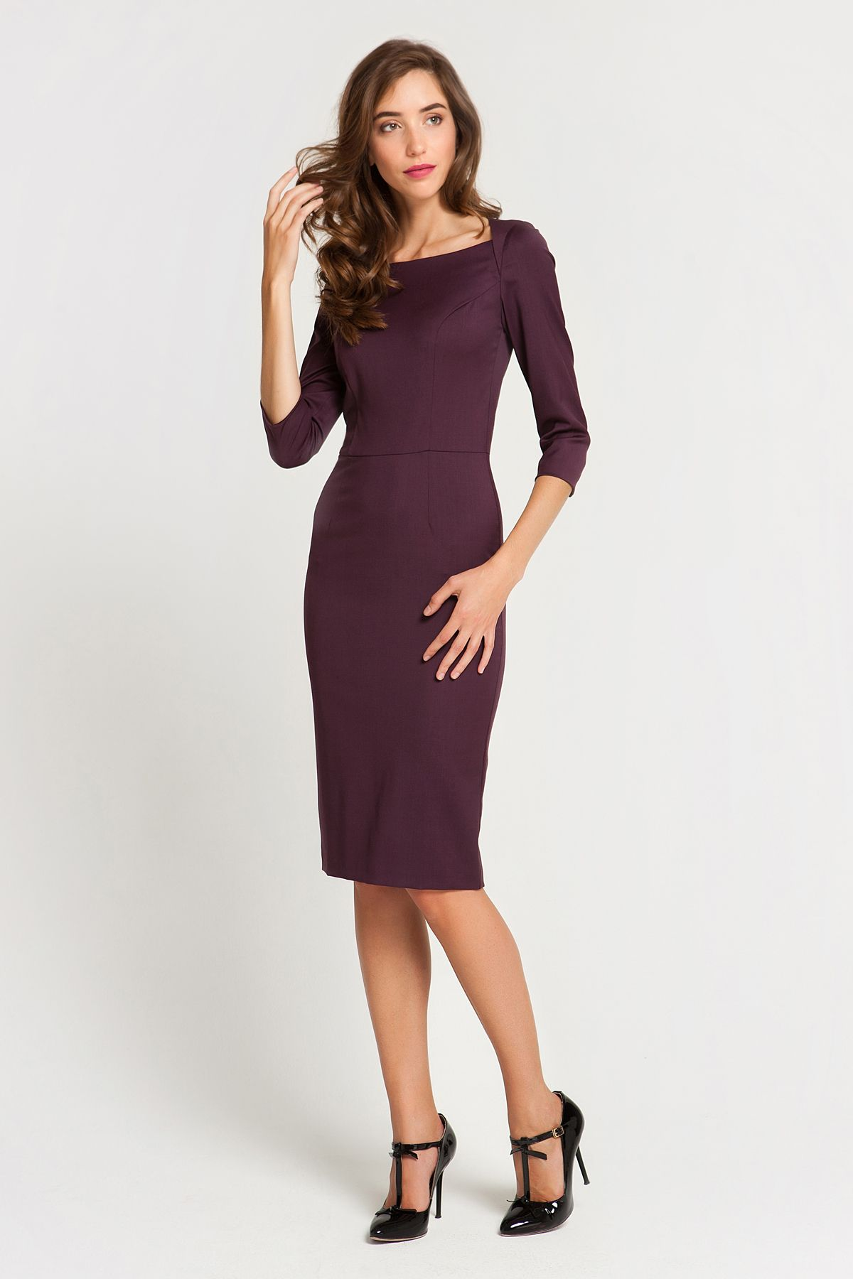 fb36029e732 1886 Платье-футляр бордового цвета с v-образным вырезом купить в Украине