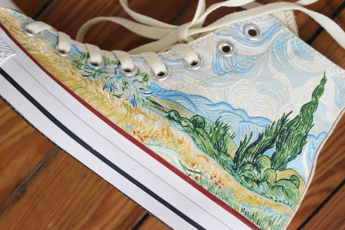 8e3a3dd9ab0 A pair of Vincent Van Gogh Starry Night and Cypresses high top Converse  shoes hand painted by artist Lauren Rundquist at LaQuist.
