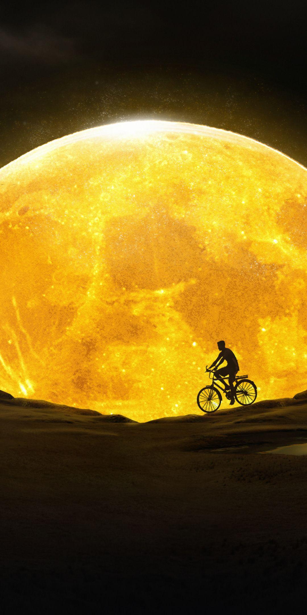 1080x2160 Moon Night Yellow Moon Cycling Silhouette Art