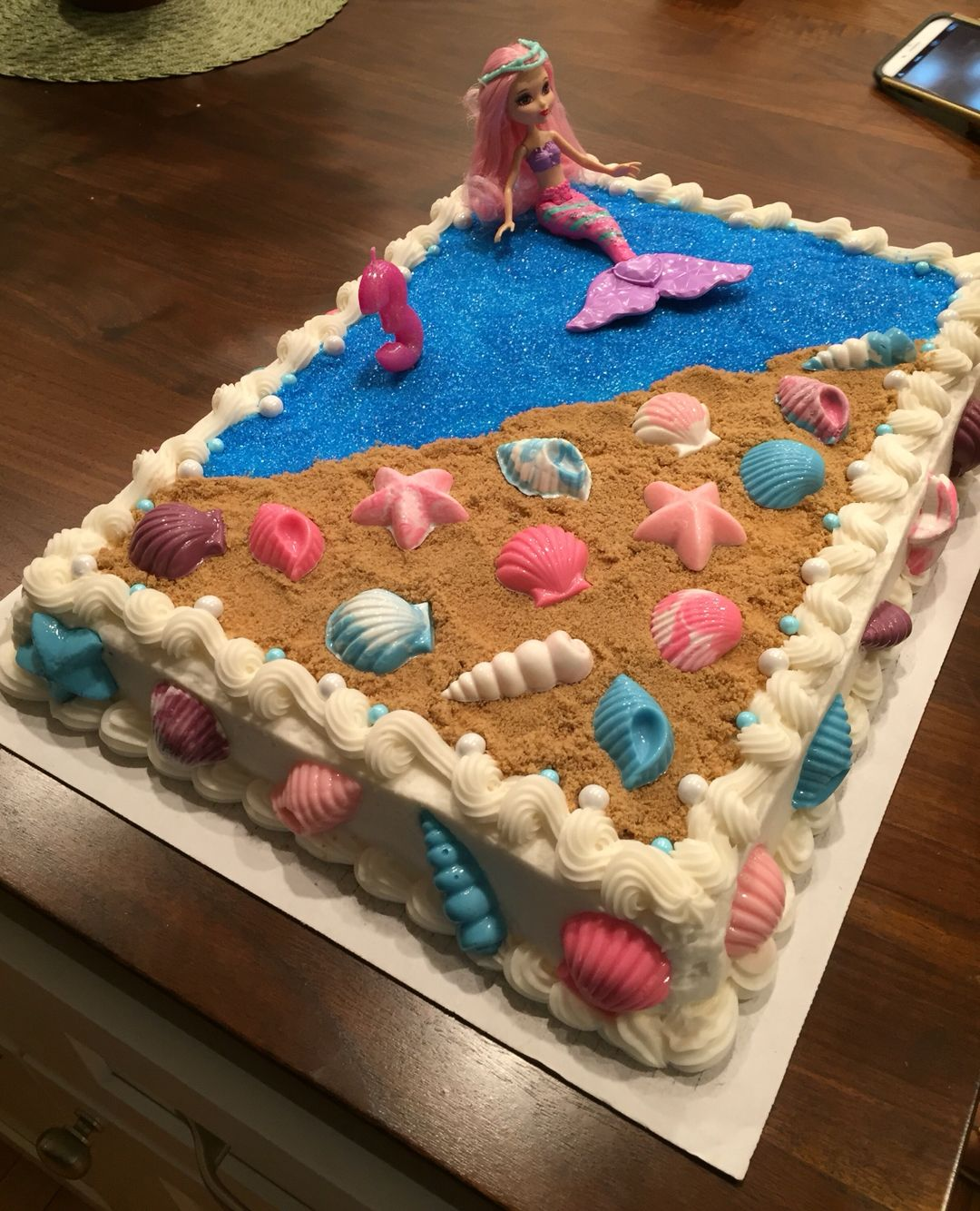 Mermaid Cake Diy Decoration On A Costco Cake With Images