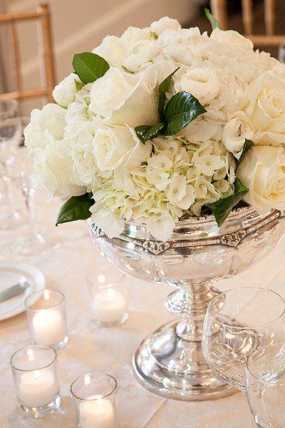 Silver White Centerpieces Wedding Reception Photos  Pictures