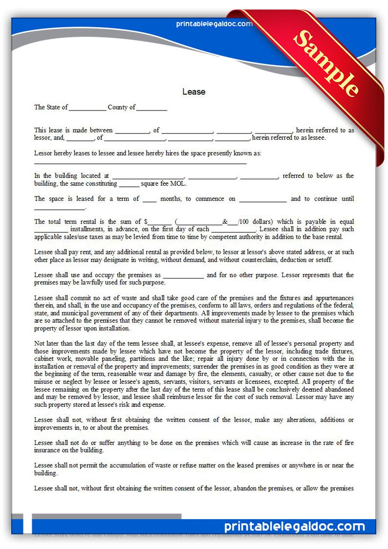 Free Printable Lease | Sample Printable Legal Forms | Legal forms ...