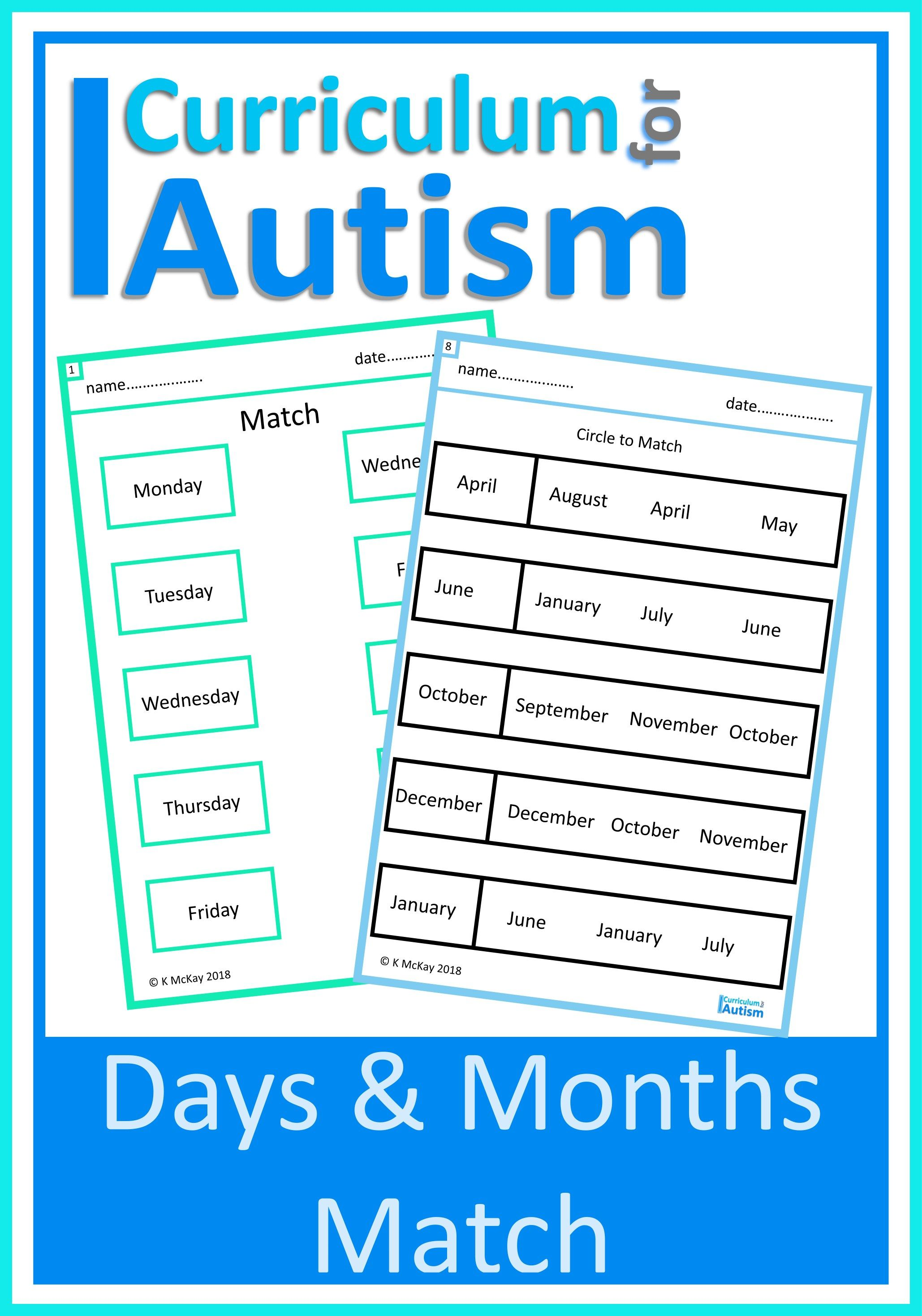 Days Amp Months Match Worksheets In With Images