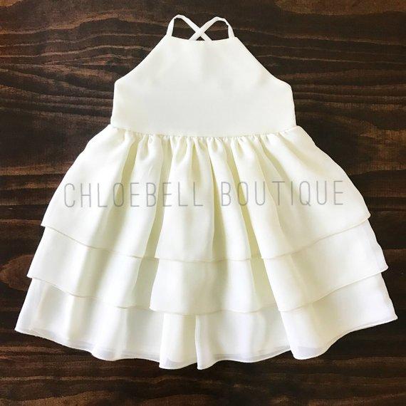 12b97205d0a Toddler formal dress - Ivory toddler dress - chiffon dress - Off white  flower girl dress - 3-Tier Ch