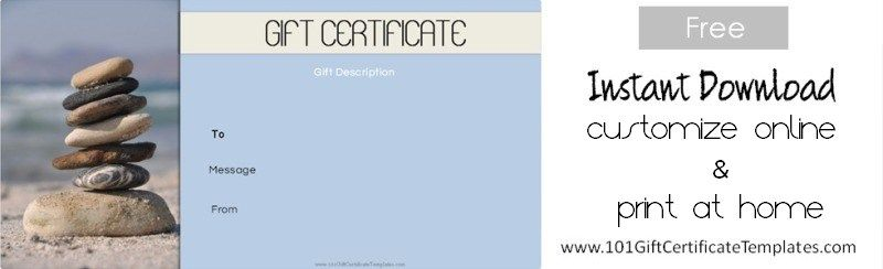 Spa gift certificates 101 gift certificate templates free printable spa gift certificate templates which can be customized with our certificate maker yelopaper Image collections