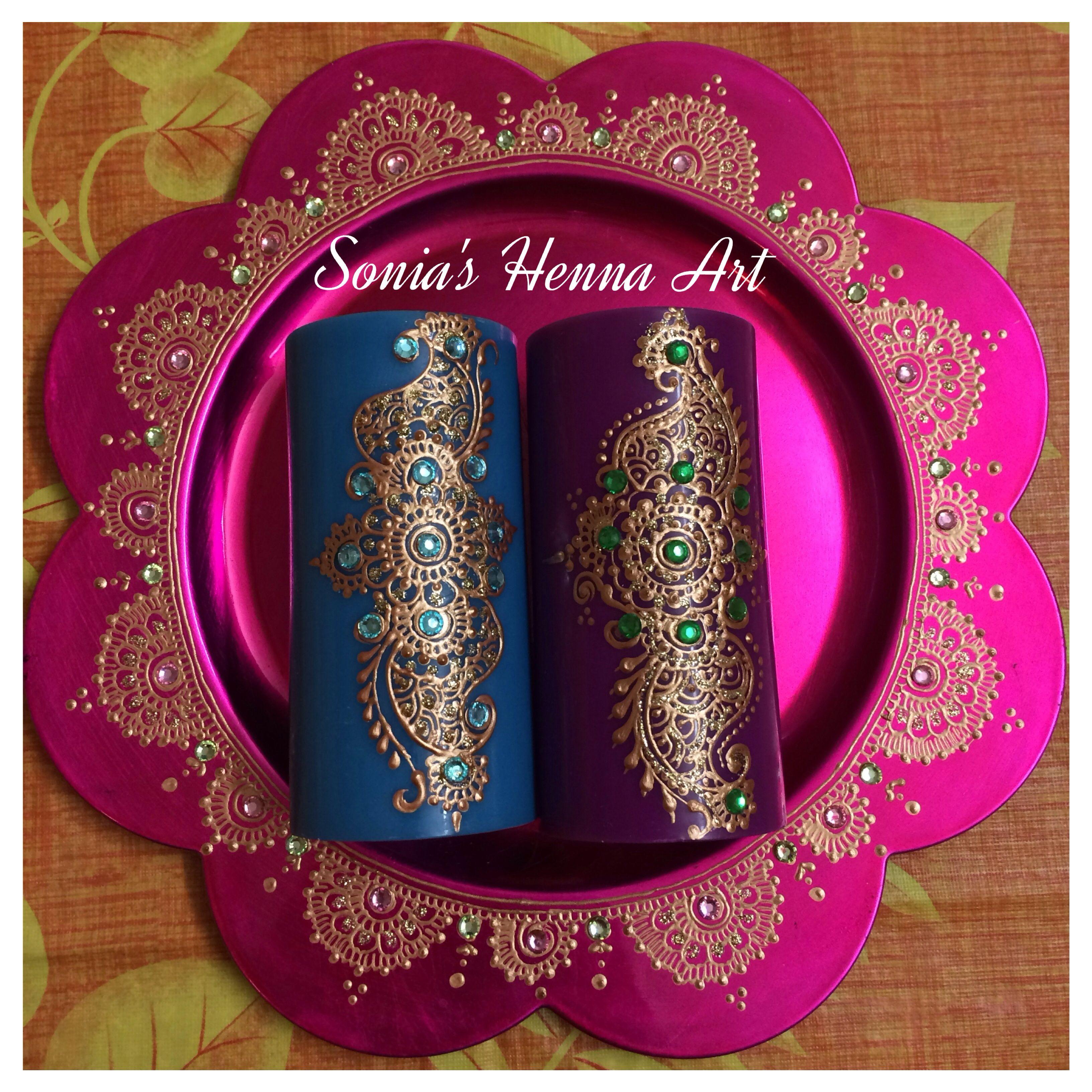 Diy Mehndi Plates : Hand crafts mehndi unique decor idea henna candle