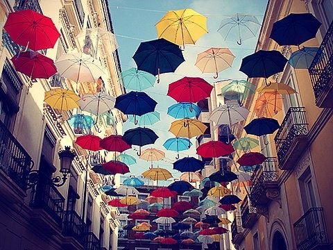 umbrellas in alicante, beautiful Spain