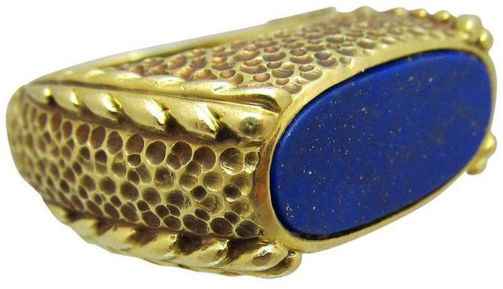 Van Cleef & Arpels - Bague 'Chevalière' - Or et Lapis Lazuli - Années 80