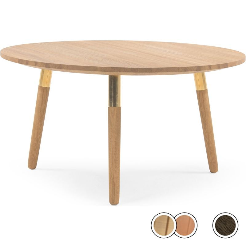 Range Round Coffee Table Solid Oak And Brass Products Round