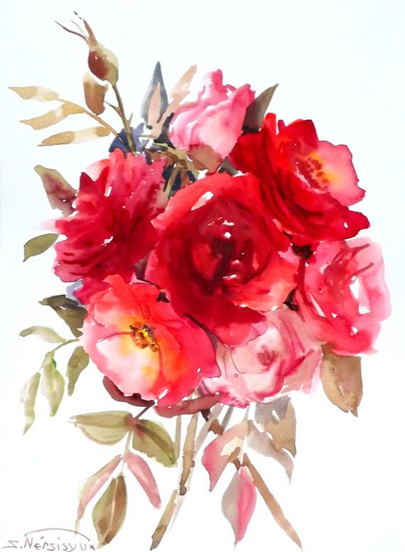 Deep Red Roses Original Watercolor Painting 12 X 9 By Originalonly