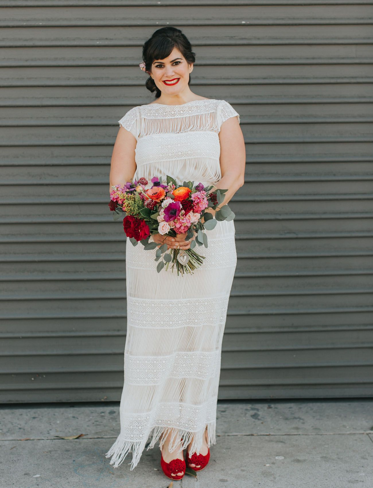 Colorful la wedding with a giant paper cut ceremony backdrop lace