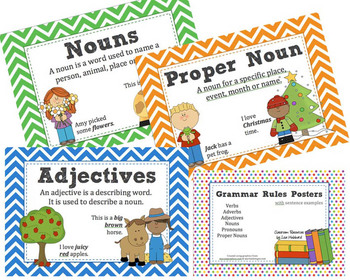 Grammar Rules Posters with Word Examples - Noun, Verb ...