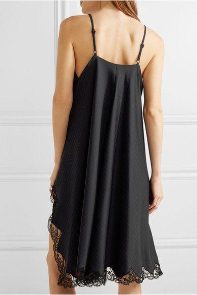 c284d5f774a7c Alexander Wang - Asymmetric Lace-trimmed Pinstriped Wool Mini Dress - Black  - US8