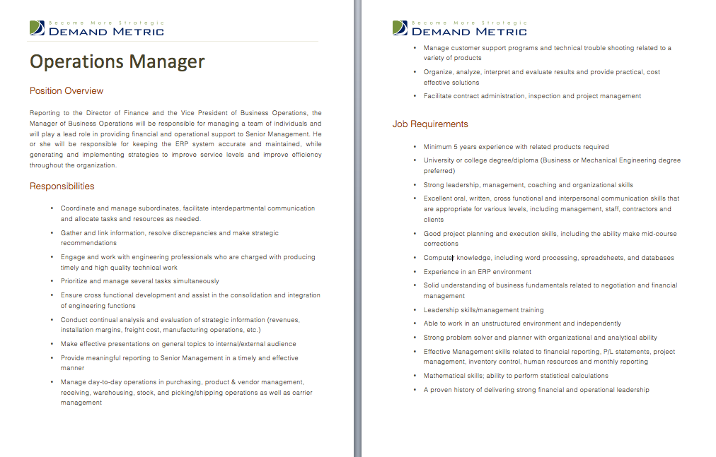 Operations Mgr Job Description  Job Descriptions