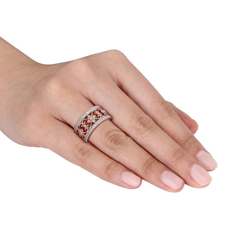 Stella Grace Two Tone Sterling Silver 1/4 Carat T.W. Diamond Filigree Ring