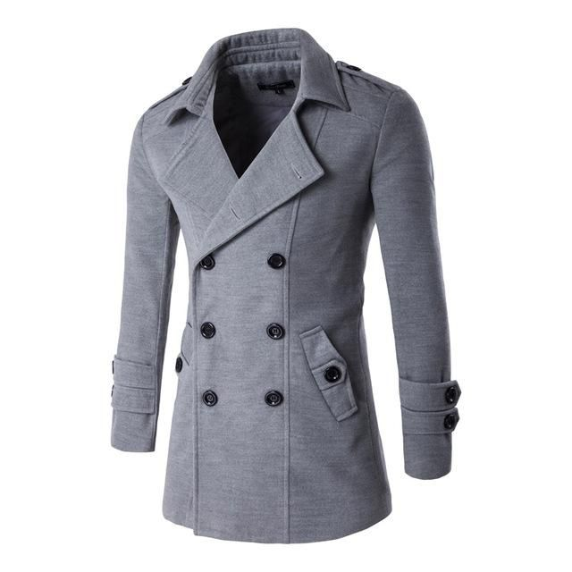 63d25d557020 2016 Letskeep NEW Men s Spring Autumn Overcoat for man wool   blends double  breasted peacoat trench