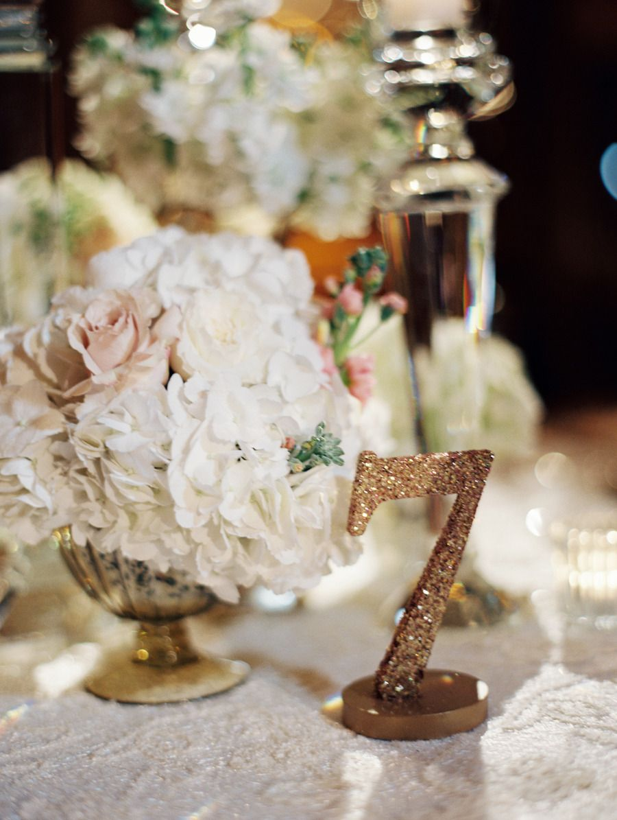 #table-numbers, #glitter  Photography: Clary Pfeiffer Photography - www.claryphoto.com  Read More: http://www.stylemepretty.com/2014/12/09/glamorous-victorian-inspired-st-louis-wedding/