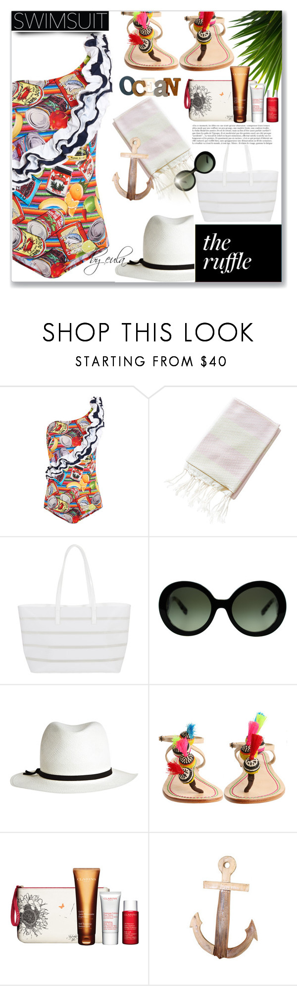"""Ruffled Up Swimwear"" by eula-eldridge-tolliver ❤ liked on Polyvore featuring Stella Jean, BUCO, Anja, Prada, Calypso Private Label, Castañer, Clarins and Dot & Bo"