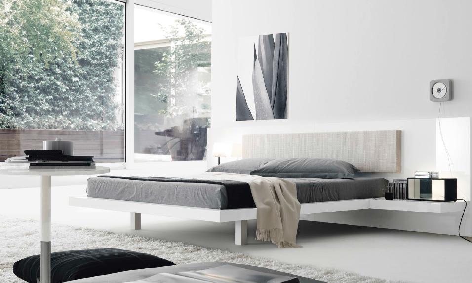 Hoofdeinde met kussen steun en zwevend nachtkastje. moodboard 2015