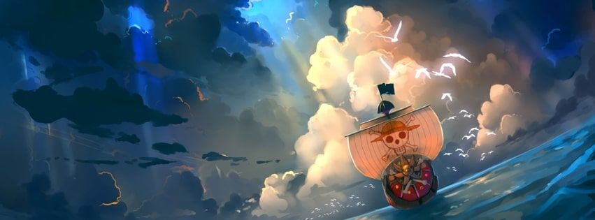Anime One Piece Thousand Sunny Facebook Cover Anime Cover Photo Anime Wallpaper Poster Prints